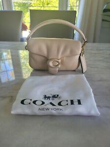 COACH Bag Soft Pillow Tabby 18 Leather Shoulder Bag Ivory/ Brass c3880