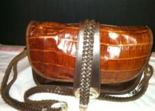 BRIGHTON Brown Leather Embossed Croc Handbag