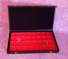 TEXTURED TOP 32 EARRING/JEWELRY DISPLAY CASE RED