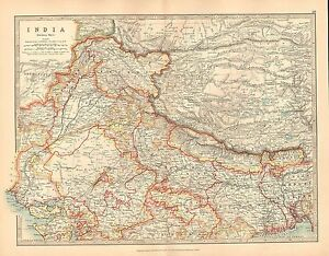 1911 LARGE VICTORIAN MAP ~ INDIA NORTHERN SHEET ~ KASHMIR NEPAL RAJPUTANA BENGAL