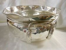 "SILVER SOLID BRASS BOWL MADE IN INDIA,  8"" ACROSS TOP 4 1/4"" DEEP."