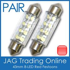 2 x 43mm 8-LED RED FESTOON INTERIOR LIGHT GLOBES/BULBS - Car/Boat/Trailer/Truck