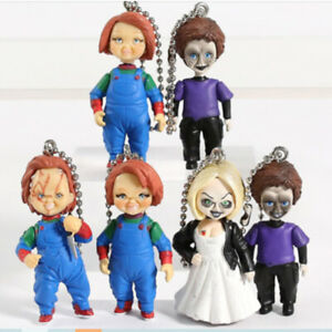 Child's Play Chucky Bride of Chucky & Son 6 PCS Figures Keyring Movie Kids Toy