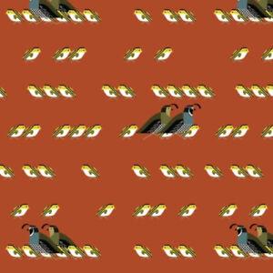Birch Organic Fabric Charley Harper Sierra Range CH 161 California Quail  Cotton