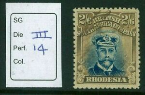 RHODESIA - 1913 2/6 Admiral fiscally used (DIE III P14) (EM168b)