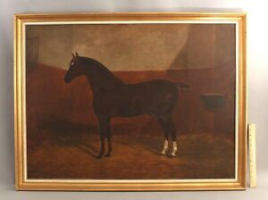 Large 19thC Antique F.C. CLIFTON Equestrian Horse Folk Art Portrait Painting NR