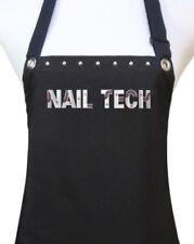 "Manicurist ""Nail Tech"" Apron manicure pedicure salon waterproof black silver"
