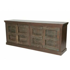 """86"""" L Daniels Sideboard Rustic Recycled Solid Wood Four Door Traditional"""