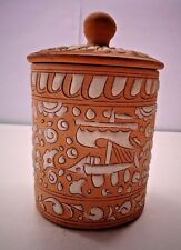 Home made Clay Pottery Canister with Lid signed Lindos Keramik Aseouros Rodos