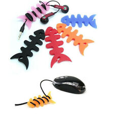 10X Fish Bone Silicone Earbud Earphone Cord Cables Wrap Winder Wire Holder Nice