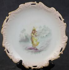 "VTG Limoges Barny Rigoni & Langle French Embossed Porcelain Figural 6 3/4"" Plate"
