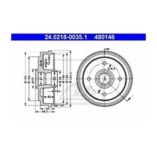 2 St. ATE 24.0218-0035.1 Bremstrommel   Chevrolet Matiz Daewoo Matiz