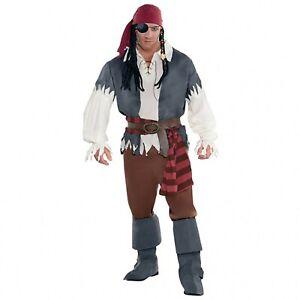 Adult Mens XL Captain Castaway Pirate Fancy Dress Costume Buccaneer Shipmate