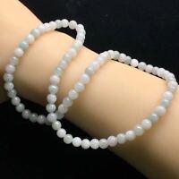 Certified Natural White Jadeite 5mm Round Beads Women Necklace Birthday Gifts