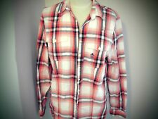 """PENGUIN RED WHITE CHECK SHIRT BLOUSE TOP  HOLIDAY SHIRT  SIZE SMALL 36"""" CHEST"""