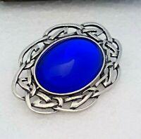 Vintage - 1970s Royal Cobalt Electric BLUE Pewter Celtic Scottish Brooch Pin