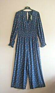 M&S Size 14 Blue Red + White Print Long Sleeve Elasticated Waist Jumpsuit NEW