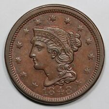 1848 N-23 R-3 E-MDS Braided Hair Large Cent Coin 1c