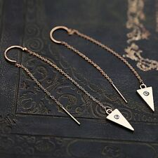 Vintage Teardrop Boho Antique Silver Statement Dangle Drop Large Long Earring