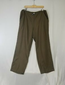 CP Shades Dark Olive Green Pull On Straight Leg Linen Pants Size Large