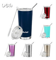 Vacuum Stainless Steel Insulated Tumbler Travel Mug Coffee cup with Straw Lid