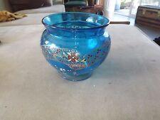 Vase coupe verre bleu décor émaillé legras ?  s182