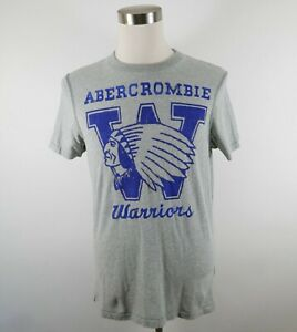 Abercrombie Mens Muscle Fit SS Crew Neck Heather Gray T Shirt XL Warrior Graphic