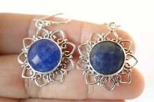 Blue Sapphire Gemstone 925 Sterling Silver Dangle Earrings