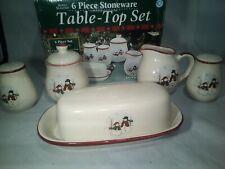 Vintage Six (6) Piece Stoneware Table Top Set Royal Seasons Christmas Snowmen