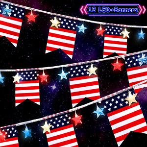 11.5 Ft 12 LED Independence Day String Light Red Blue White Star Light July 4Th