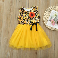 Toddler Kids Baby Girls Sleeveless Sunflower Floral Ruffle Princess Dresses