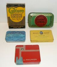Lot/5 Vintage Tobacco Tins Patterson Lucky Strike,Dill's Best,Edgeworth,Maurier