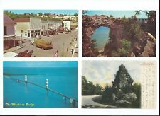 4 old MICHIGAN Postcards MACKINAC ISLAND Downtown Sugar Loaf & Arch Rocks BRIDGE