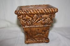 New listing Vintage Retro Square Brown Planter Flower Pot Heavy Quality Unmarked