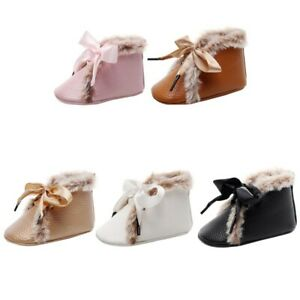 PU Anti-slip With Velvet Winter Warm Soft Sole Shoes Baby Toddler Girl Crib Boot