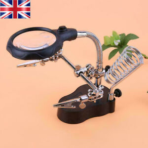 LED Light Magnifying Glass Desktop Table Magnifier Lamp Loupe Solder Iron Stand