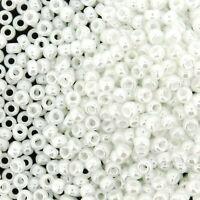 Miyuki Round Rocaille Seed Beads Size 8/0 White Ceylon 24gm-Tube (8-528)