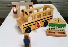 Melisa & Doug Wooden Toy School Bus and Accessories-4 pieces total