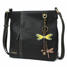New Chala LASER CUT Crossbody Messenger Bag  Convertible MINI DRAGONGLY Black