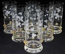 THERESIENTHAL - 6x SAFTGLAS Wasserglas Glas - BEERENNOPPEN Bernstein BLATTRANKE