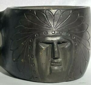 ANTIQUE CHEROKEE NC POTTERY HANDLED CUP SIGNED E. JACKSON CARVED CHIEF FACE