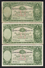 New listing Australia R-32. (1952) One Pound - Coombs/Wilson. George Vi x 3 Notes.