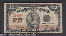 1923  25 Cents Shinplaster - McCavour Saunders - Dominion of Canada - E478