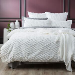Revive Living Chevvy Cotton Chenille Vintage washed Tufted Quilt cover set White
