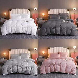 Seersucker Duvet Cover 100% Egyptian Cotton Quilt Bedding Set Double King Size