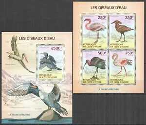 IC22 2014 IVORY COAST AFRICAN FAUNA WATER BIRDS #1539-2+BL195 MNH