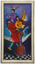 An oil on canvas of 3 women musicians. Stylized, very colorful in metallic frame
