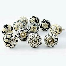Black and White Hand Painted Ceramic Knobs Cabinet Pulls Dresser Drawers Handles