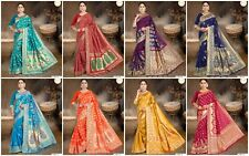 Bollywood Indian Banarasi Silk Saree Designer Ethnic wear formal wedding Sari AC