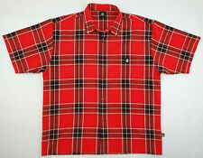 Lowrider Mens Size 2XL XXL Red and Black Plaid Short Sleeve Button Up Shirt
